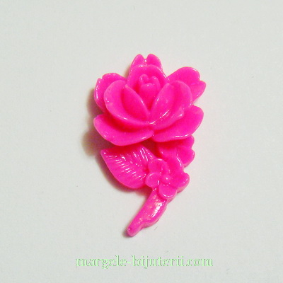 Cabochon rasina, floare fucsia, 23x14x7mm 1 buc