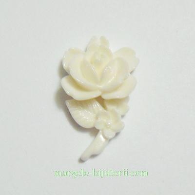Cabochon rasina, floare crem, 23x14x7mm 1 buc