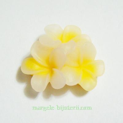 Cabochon rasina, 3 flori galbene, 21x21x10mm 1 buc