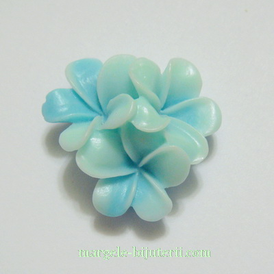Cabochon rasina, 3 flori bleu, 21x21x10mm 1 buc