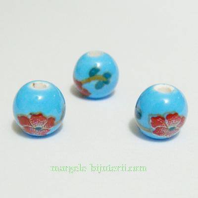 Margele portelan, bleu cu flori maro, 8mm 1 buc