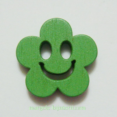 Floare lemn, smile, verde, 14x4mm 1 buc