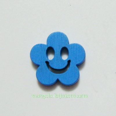 Floare lemn, smile, albastra, 14x4mm 1 buc