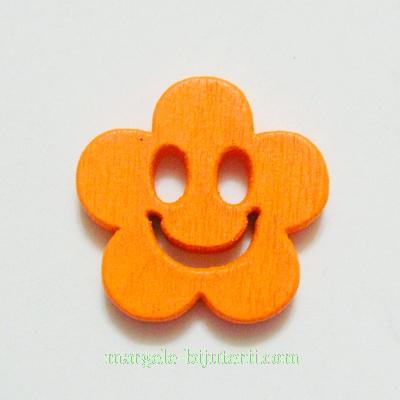 Floare lemn, smile, portocalie, 14x4mm 1 buc