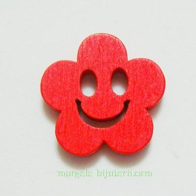 Floare lemn, smile, rosie, 14x4mm 1 buc