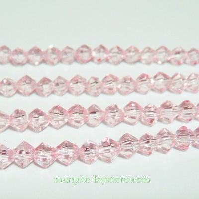 Margele sticla, biconice, roz deschis, 4mm 10 buc