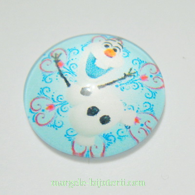 Cabochon sticla, FROZEN, 18x5mm, imagine 2 1 buc