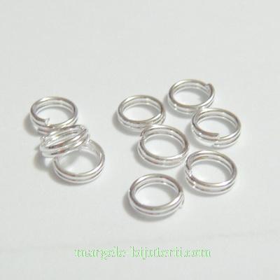 Zale duble placate cu argint, 6x0.7mm 10 buc