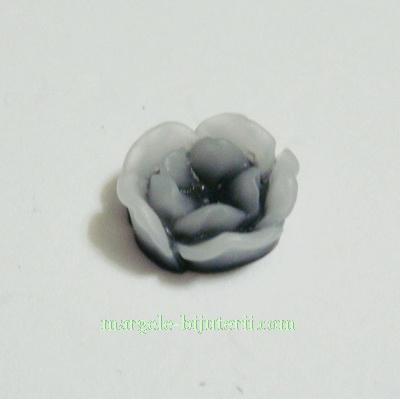 Cabochon rasina, flori gri, in degrade, 13x6mm 1 buc