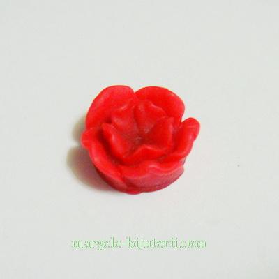Cabochon rasina, flori rosii, 13x6mm 1 buc