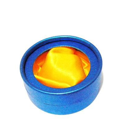 Cutie carton, bleumaren, matase portocalie, cu fereastra, rotunda, 8x4cm 1 buc