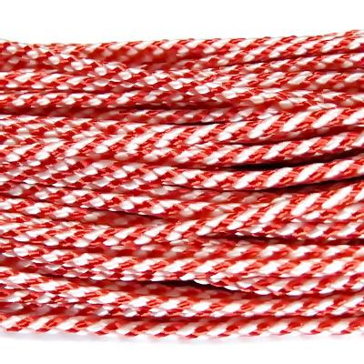 Snur martisor, tesut, plat, rosu-alb, 2mm 1 m