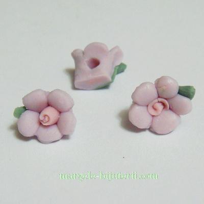 Margele portelan, floare mov, 10x7mm 1 buc
