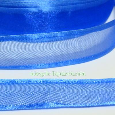 Panglica organza cu margine saten, albastru-cobalt, 2cm 1 m