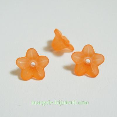 Flori acrilice, frosted, portocaliu-maroniu, 9x5mm 1 buc