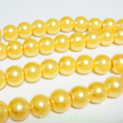 Perle sticla galben-auriu, 8mm 10 buc