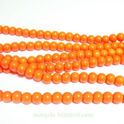 Margele sticla, portocalii, 4mm 10 buc