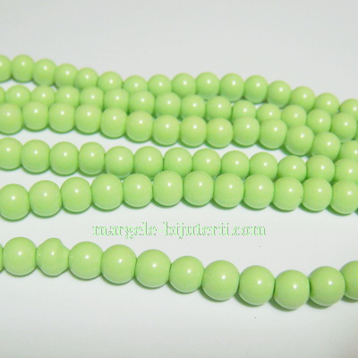 Margele sticla, verde-fistic, 6mm 10 buc
