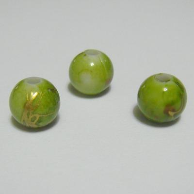 Margele plastic verde deschis cu auriu, 8mm 10 buc