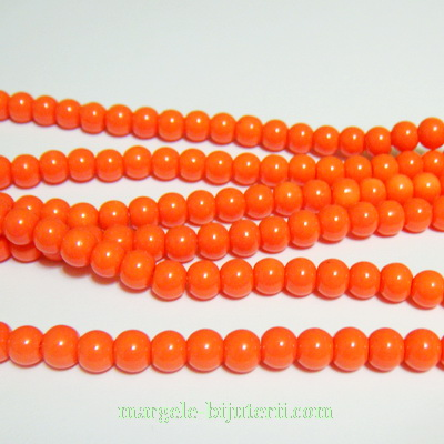 Margele sticla, portocalii, 6mm 10 buc