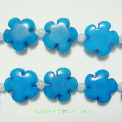 Jad albastru, floare cu 5 petale, 16x6mm 1 buc