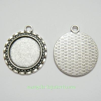 Baza cabochon, argint tibetan, pandantiv, 32x28x2.5mm, interior 20mm 1 buc