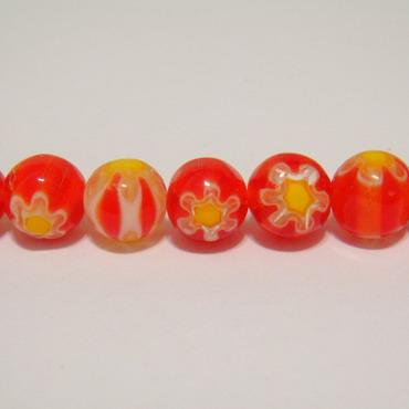 Margele millefiori rosii 8mm 1 buc