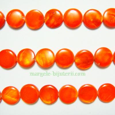 Perle plate sidef, portocaliu-roscat, plate, 10x3mm 1 buc