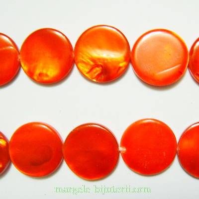 Perle plate sidef, portocaliu-roscat, plate, 15x3mm 1 buc