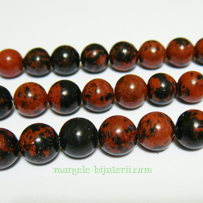 Obsidian maro cu negru, 8mm 1 buc