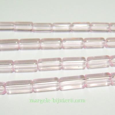Margele sticla, roz, tub, 10x4mm 1 buc