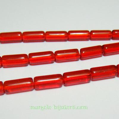 Margele sticla, rosii, tub, 10x4mm 1 buc