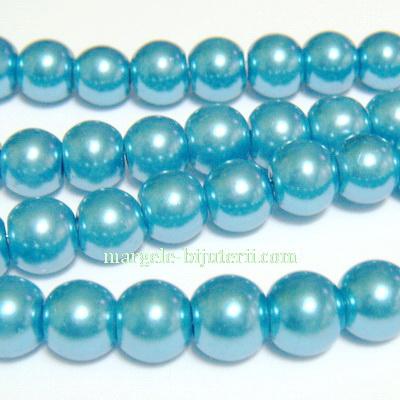 Perle sticla bleu, 10mm 10 buc