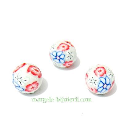 Margele fimo, crem cu flori rosii si albastre , 10mm 1 buc