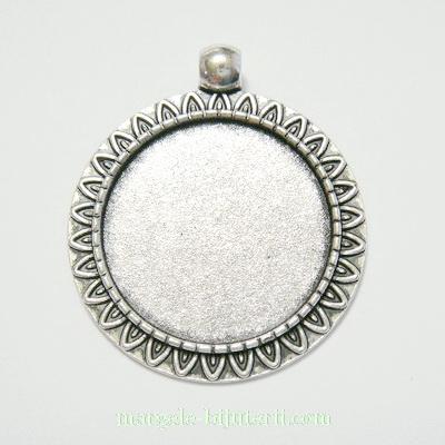 Baza cabochon, argint tibetan, pandantiv, 38x32x2mm, interior 24mm 1 buc