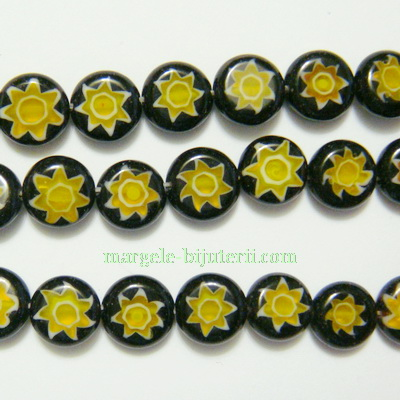 Margele millefiori, negre, plate, 10x4mm 1 buc