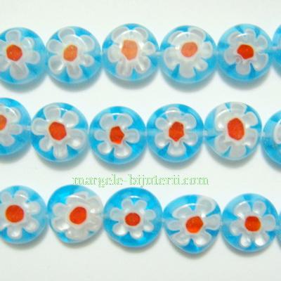 Margele millefiori, bleu, plate, 10x4mm 1 buc