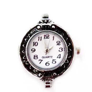 Ceas culoare argintie cu negru, 33x22mm 1 buc