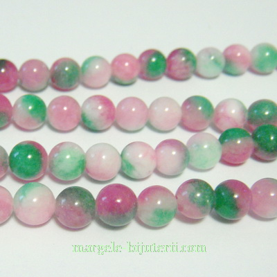 Jad alb-roz-verde, 6mm 1 buc
