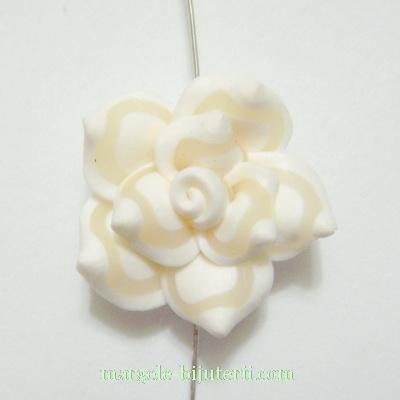 Margele polymer, floare alba, 20x20x10mm 1 buc