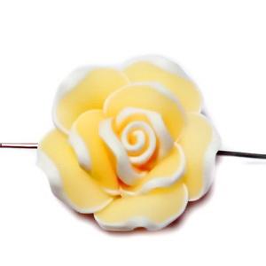Margele polymer, floare galbena cu contur alb, 20x20x10mm 1 buc