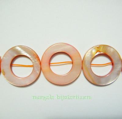 Cercuri sidef, portocalii, 20x3mm 1 buc