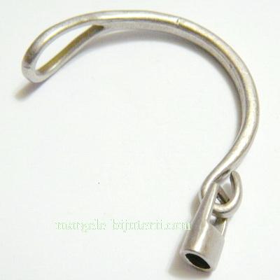 Inchizatoare pentru bratari nautice, semirotunde, argintiu inchis, 55x14x13mm 1 buc