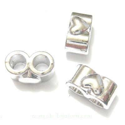 Distantier argintiu inchis, cu 2 orificii de 4mm, 15x9x8mm 1 buc