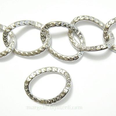 Zale decorative, plastic placat argintiu (CCB), 60x27x3mm 1 buc