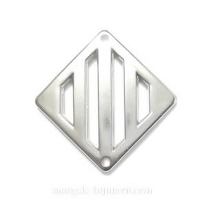 Conector/link, plastic placat argintiu (CCB), romb 35x35x4mm 1 buc