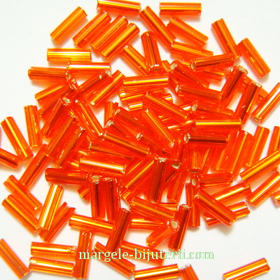 Margele tubulare, portocalii cu interior argintiu, 7mm 20 g