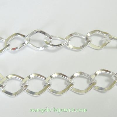 Lant argintiu, zale 9x7x1.2mm 1 m