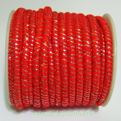 Ata elastica rosie cu fir lurex argintiu, 4mm, rola 8.5metri 1 buc