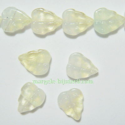 Frunzulite sticla Cehia, galben-verzui, 11x9x3mm 1 buc